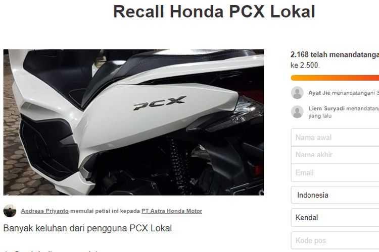 Ribuan Orang Isi Petisi Recall Honda PCX, Apa Kata Honda?