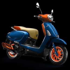 Perpaduan biru, oranye dan cokelat
