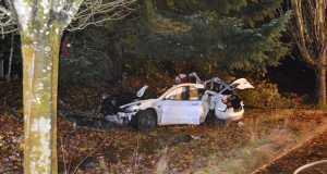 Tesla Model 3 alami kecelakaan di Corvallis, Oregon. (Foto: Departemen Kepolisian Kota Corvallis)