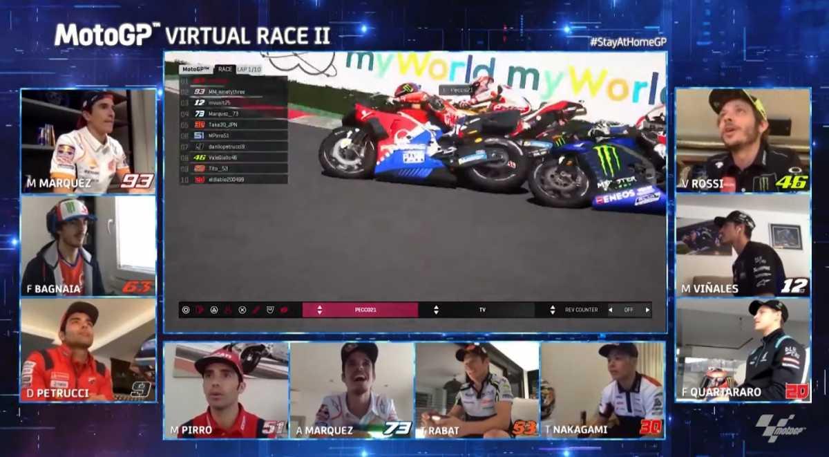 Hasil motoGP Virtual Seri 2: Pertarungan Seru Vinales vs Bagnaia, Rossi Posisi 7