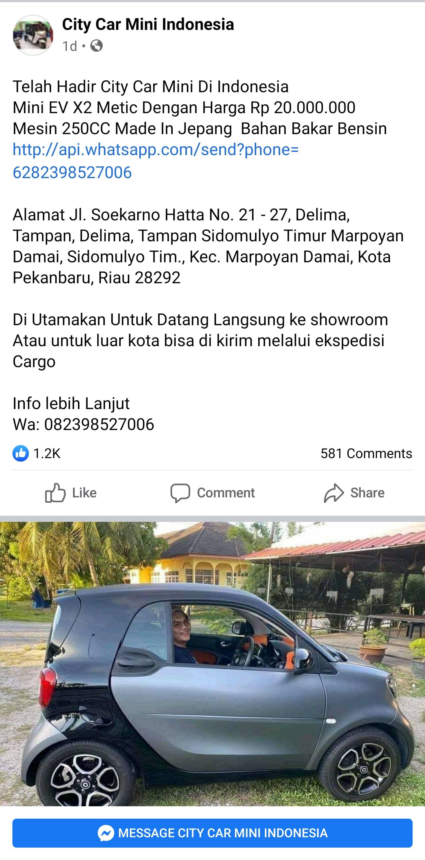 Mobil Mini Rp20 Jutaan Di Pekanbaru Diduga Penipuan