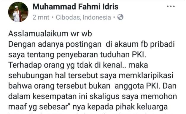 Penyebar Hoaks Anggota PKI Berkeliaran di Bogor Minta Maaf