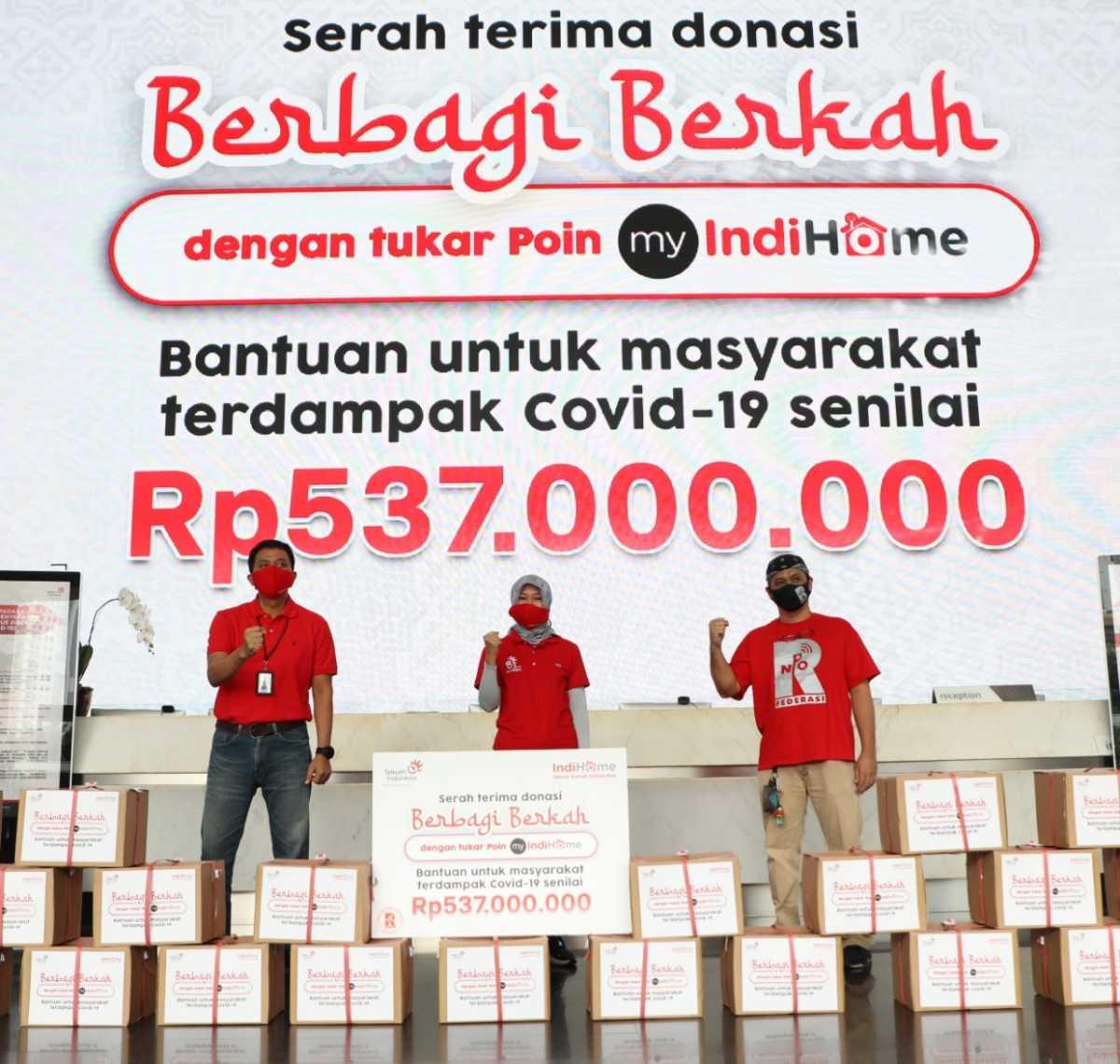 Donasi Pelanggan Indihome Capai Rp537 Juta Jadi 3000 Paket Sembako
