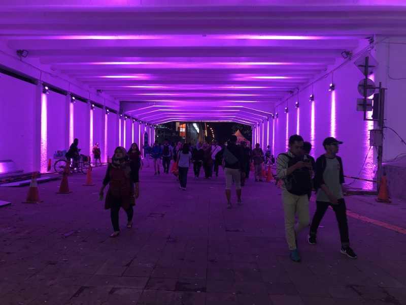 <i>MRT Music Corner</i> Bergema di Terowongan Warna-Warni Simpul Transit Dukuh Atas