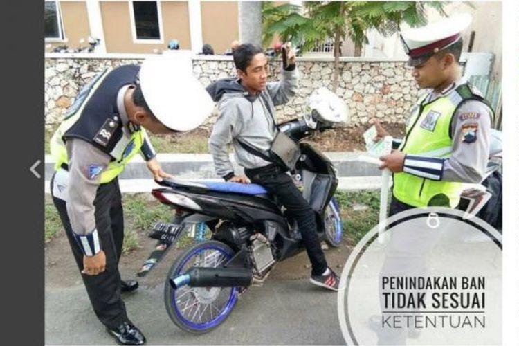 Motor Pakai Ban Cacing, Siap-siap Ditilang