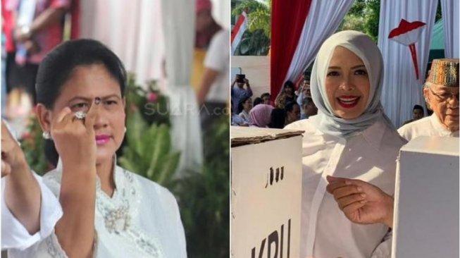 Beda Gaya Iriana Jokowi dan Nur Asia Uno Saat Nyoblos, Salfok Sama Lipstik