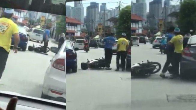 Tak Nyalakan Lampu Sein, Wanita Ini Diserang Pengendara Sepeda Motor