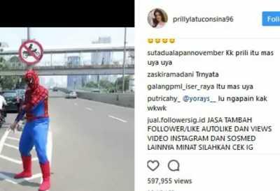 Prilly Unggah Spiderman KW, Netizen: Itu Om Uya Kuya