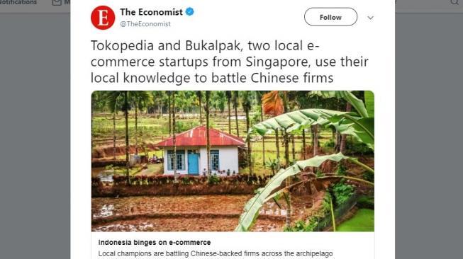 Sebut Bukalapak dan Tokopedia dari Singapura, The Economist Diejek Warganet