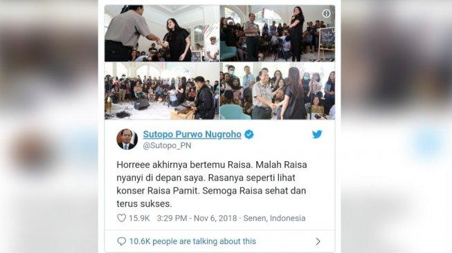Kenang Sutopo, Humas BNPB Fans Berat Raisa Viral dengan #RaisaMeetSutopo
