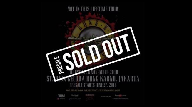 Gila, Tiket Presale Guns N Roses Ludes Dalam 4 jam