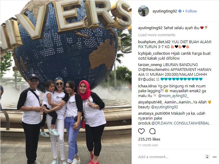 Unggah Foto Liburan, Celana Ibunda Ayu Ting Ting Bikin Netizen Salah Fokus