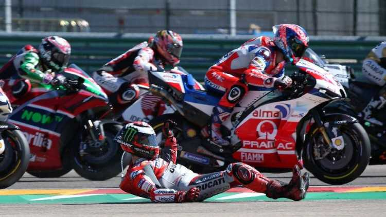Lorenzo Jatuh Marquez Kalahkan Dovizioso di MotoGP Aragon
