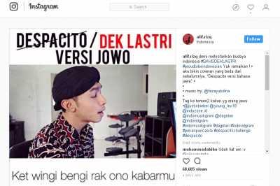 Keren, Lagu Despacito Luis Fonsi - Justin Bieber versi Jawa
