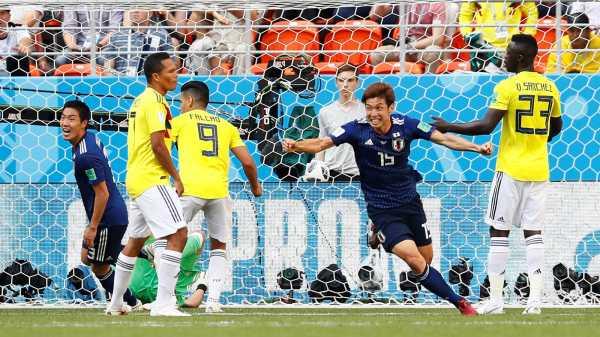 Dua Gol Bola Mati Bantu Jepang Tekuk 10 Pemain Kolombia