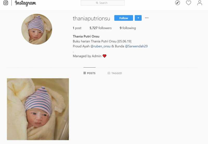 Baru Dilahirkan, Putri Kedua Ruben Onsu Sudah Punya Ribuan Follower Instagram