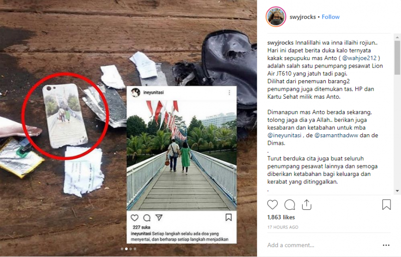 Pasangan Bergandengan Tangan Korban Lion Air JT 610 Ternyata Sepupu Personel J-rock