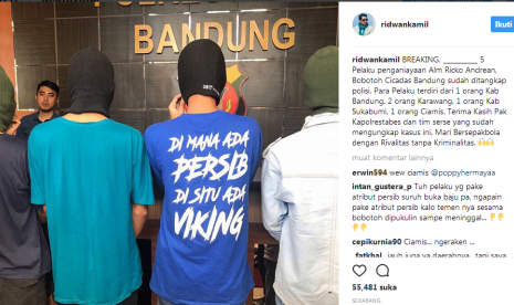 Lima Pengeroyok Ricko Bobotoh Persib yang Tewas Ditangkap
