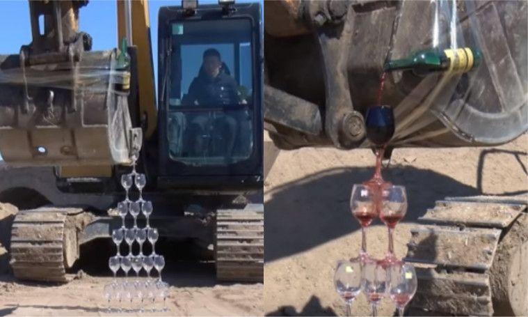 Miliki Kemampuan Unik, Pria Ini Bisa Menata Gelas dan Tuangkan Wine Gunakan Alat Berat