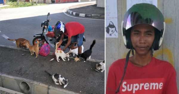 Tukang Parkir Ini Rela Menghabiskan Gajinya untuk Memberi Makan Anjing dan Kucing Liar