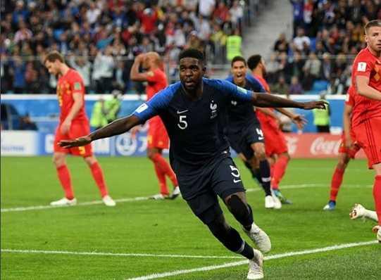 Viral, Aksi Kocak Umtiti Usai Cetak Gol untuk Prancis ke Gawang Belgia